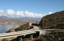 Arizona highway and bridge by lake