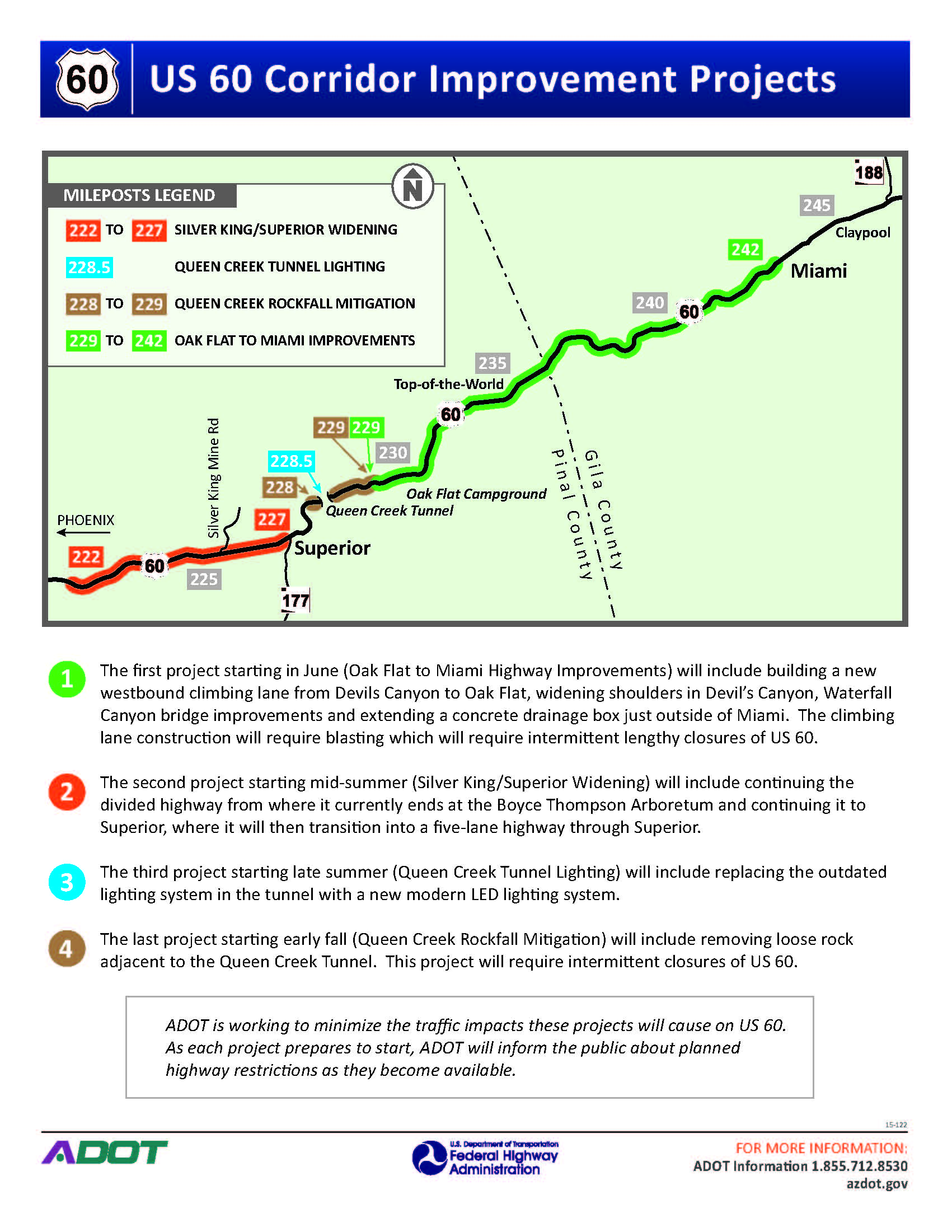 US 60 Corridor Improvement Projects Map and Overview
